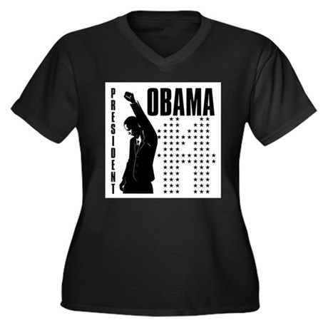 President Obama Women's Plus Size V-Neck Dark T-Sh