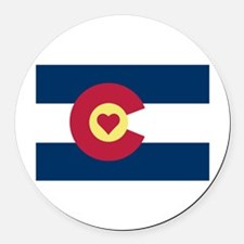 I Love Colorado Round Car Magnet