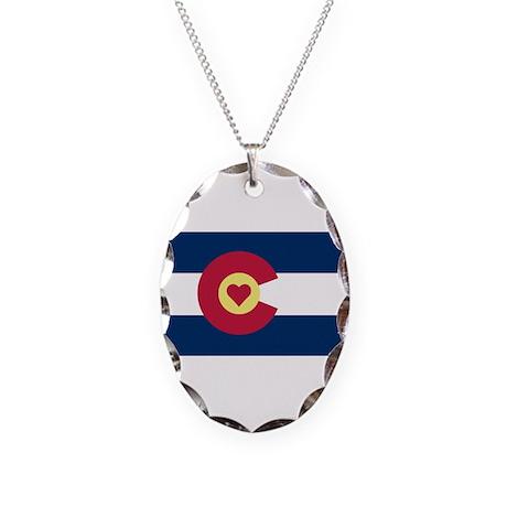 I Love Colorado Necklace Oval Charm