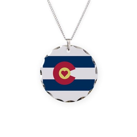 I Love Colorado Necklace Circle Charm