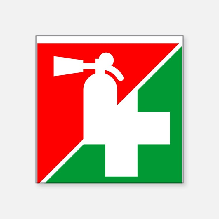 """Fire Ext/1st Aid Image Square Sticker 3"""""""