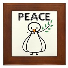 White Dove Peace Framed Tile