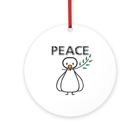 White Dove Peace Ornament (Round)