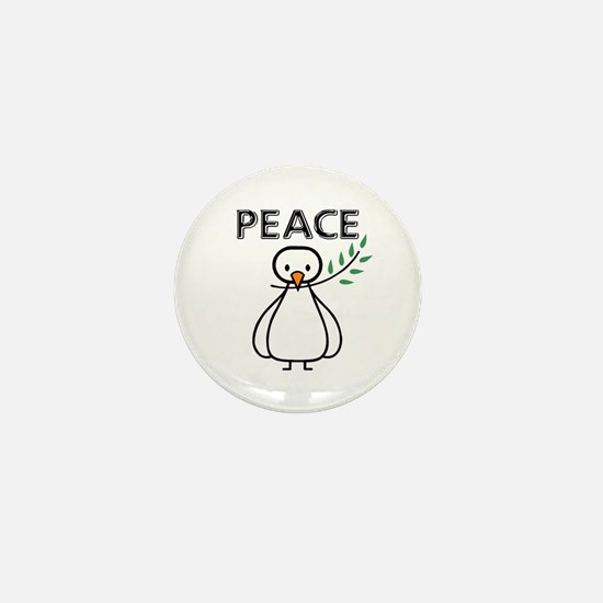 White Dove Peace Mini Button