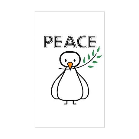 White Dove Peace Rectangle Sticker