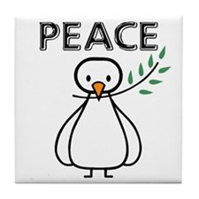 White Dove Peace Tile Coaster