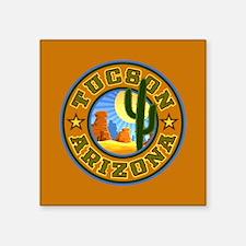 "Tucson Desert Circle Square Sticker 3"" x 3"""