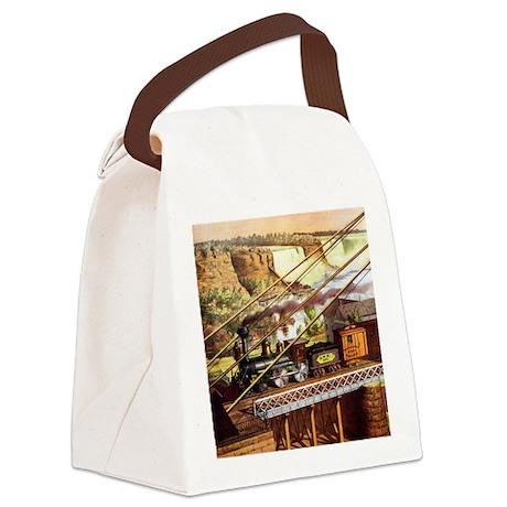 Vintage Train Canvas Lunch Bag