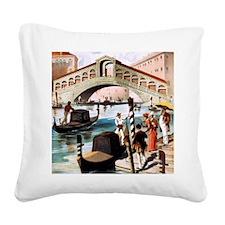 Vintage Venice Square Canvas Pillow