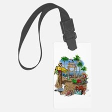 Parrot Beach Shack Luggage Tag
