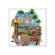 "Parrot Beach Shack Square Sticker 3"" x 3"""