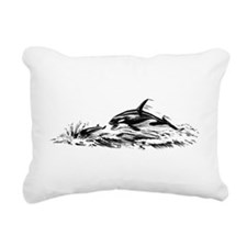 Vintage Killer Whale Rectangular Canvas Pillow
