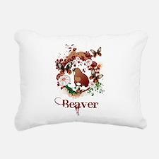 Butterfly Beaver Rectangular Canvas Pillow