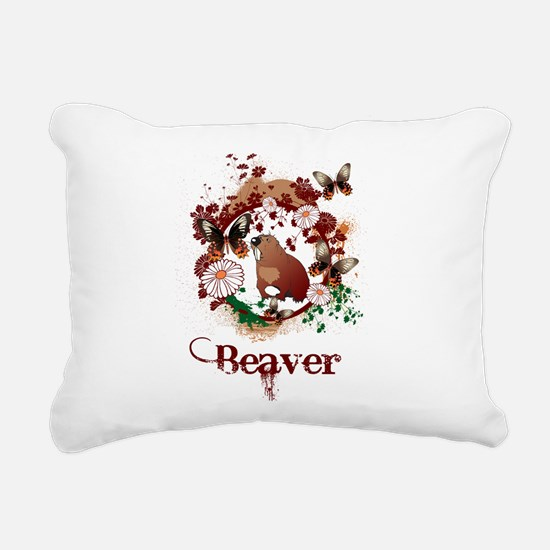 Butterfly Beaver Rectangular Canvas Pillow