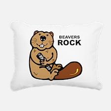 Beavers Rock Rectangular Canvas Pillow