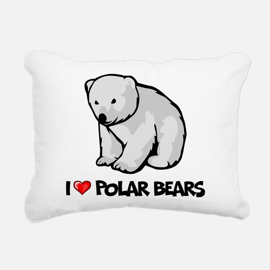 I Love Polar Bears Rectangular Canvas Pillow