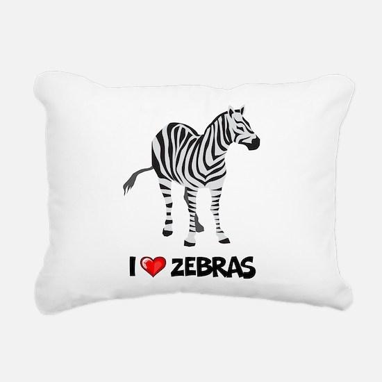 I Love Zebras Rectangular Canvas Pillow