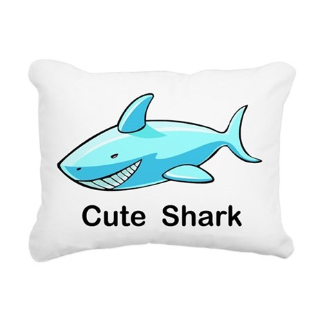 Cute Shark Pillow : Cute Shark Rectangular Canvas Pillow by esangha