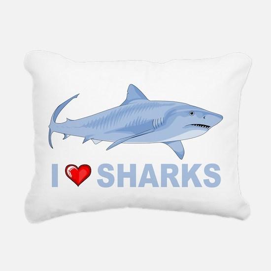 I Love Sharks Rectangular Canvas Pillow
