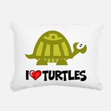 I Love Turtles Rectangular Canvas Pillow