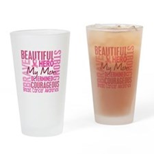 Tribute Square Breast Cancer Drinking Glass