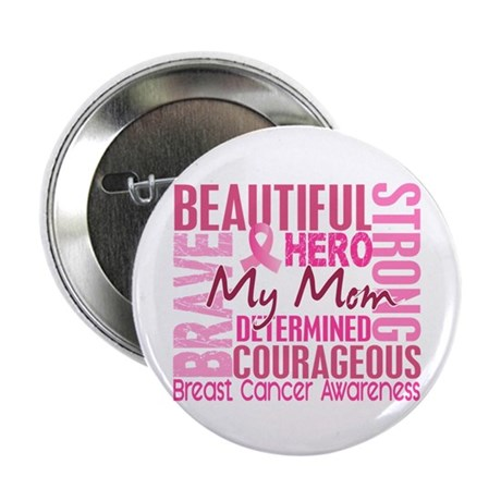 """Tribute Square Breast Cancer 2.25"""" Button (10 pack"""