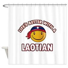 Lifes better with a Laotian Shower Curtain