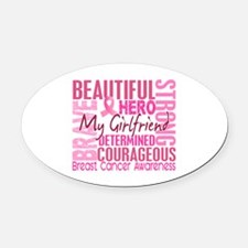 Tribute Square Breast Cancer Oval Car Magnet