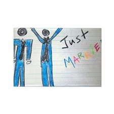 gay couple men just married Rectangle Magnet