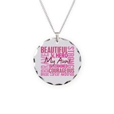 Tribute Square Breast Cancer Necklace Circle Charm