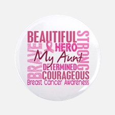 "Tribute Square Breast Cancer 3.5"" Button"