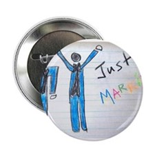 """gay couple men just married 2.25"""" Button"""