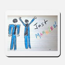 gay couple men just married Mousepad