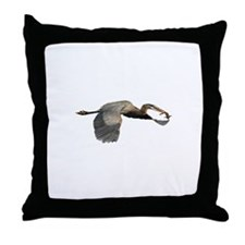 heron in flight with fish Throw Pillow