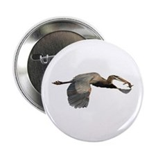 """heron in flight with fish 2.25"""" Button"""