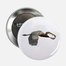 "heron in flight with fish 2.25"" Button"