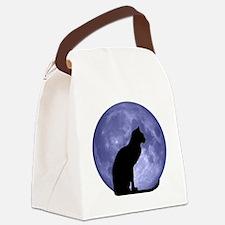 Black Cat, Blue Moon Canvas Lunch Bag