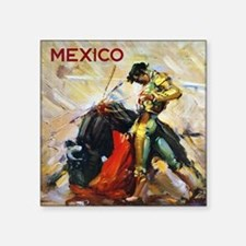 "Vintage Bullfighting Square Sticker 3"" x 3"""