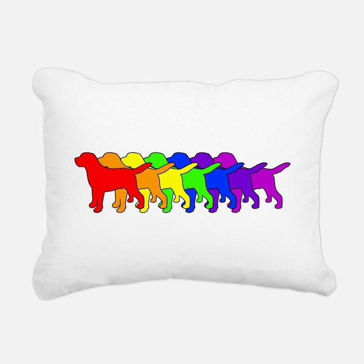 Rainbow Labradors Rectangular Canvas Pillow
