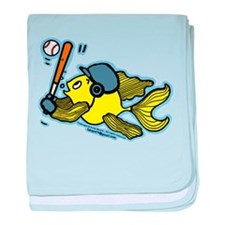 Fish Playing Baseball, Baseball Fish baby blanket