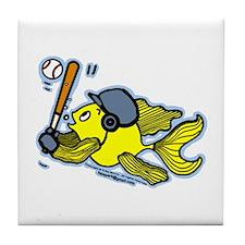 Fish Playing Baseball, Baseball Fish Tile Coaster