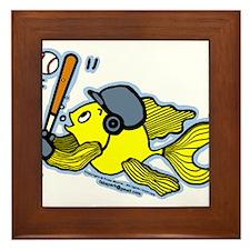 Fish Playing Baseball, Baseball Fish Framed Tile