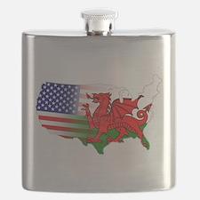 American Welsh Map Flask