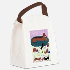 Knitting Dachshund Canvas Lunch Bag