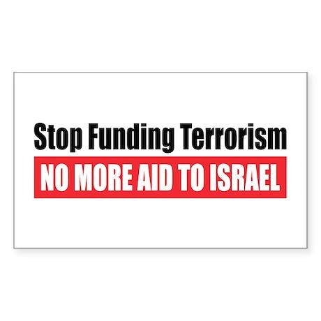 Stop Funding Rectangle Sticker