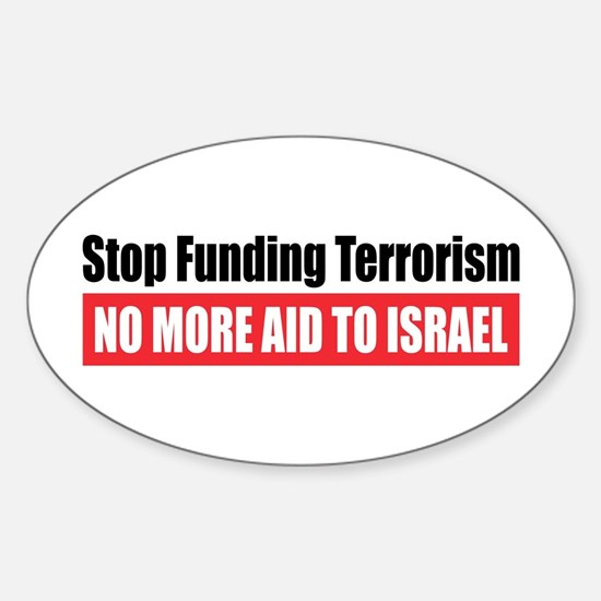 Stop Funding Oval Decal