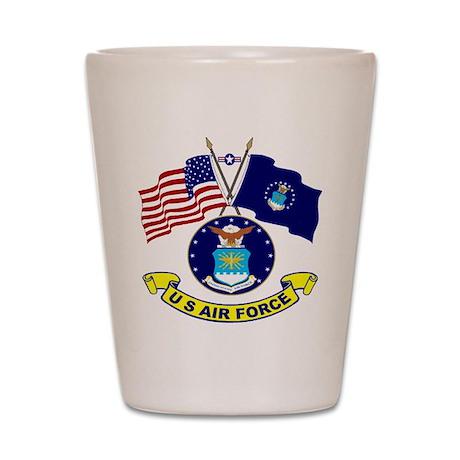USAF-USA Flags Shot Glass