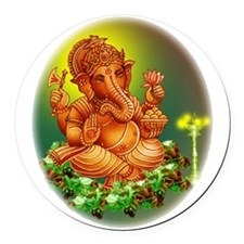 ganesh oval.png Round Car Magnet