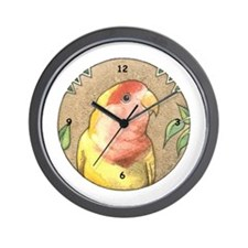 Lutino Peachface Lovebird Wall Clock