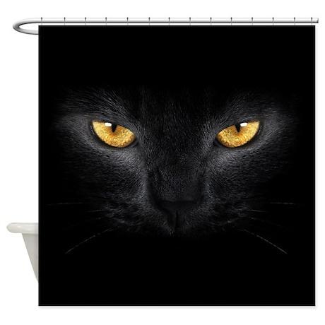 Black Cat Eyes Shower Curtain
